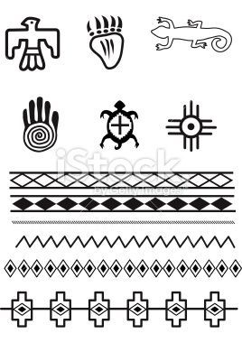 native american symbols and patterns, original illustrations | indianer muster, indianische