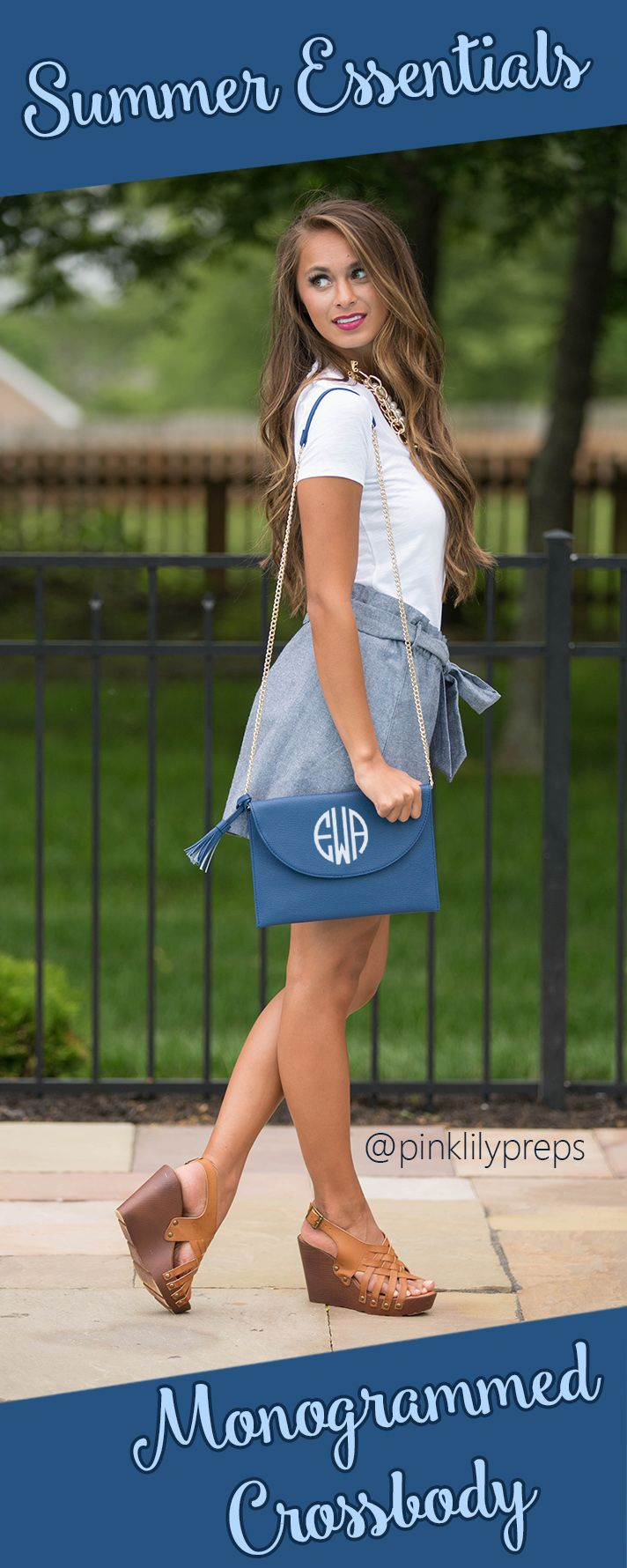 This versatile monogrammed purse can be used as a crossbody or clutch. It's the perfect summer accessory! Take your style to a whole new level this summer!