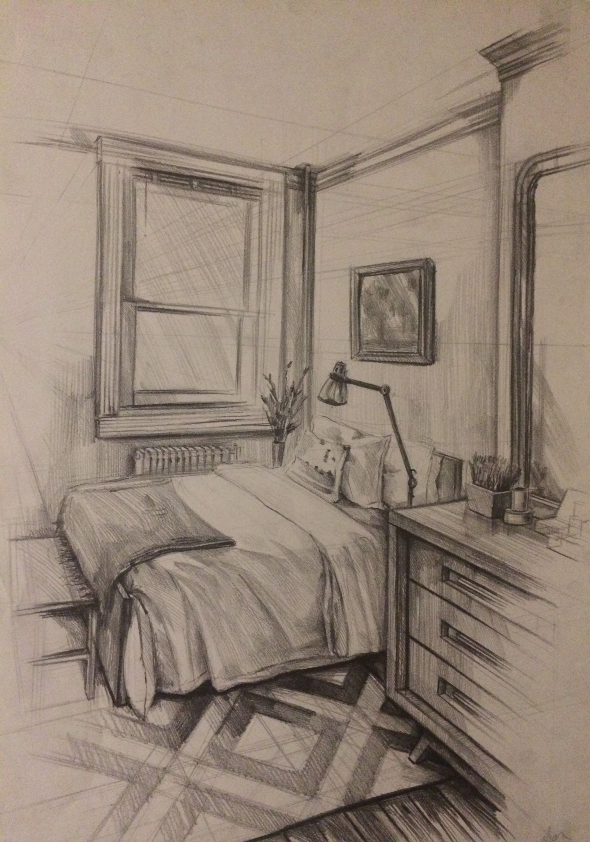 Bedroom Drawing: Interior Drawing,bedroom,pen Drawing Yatak Odası çizimi