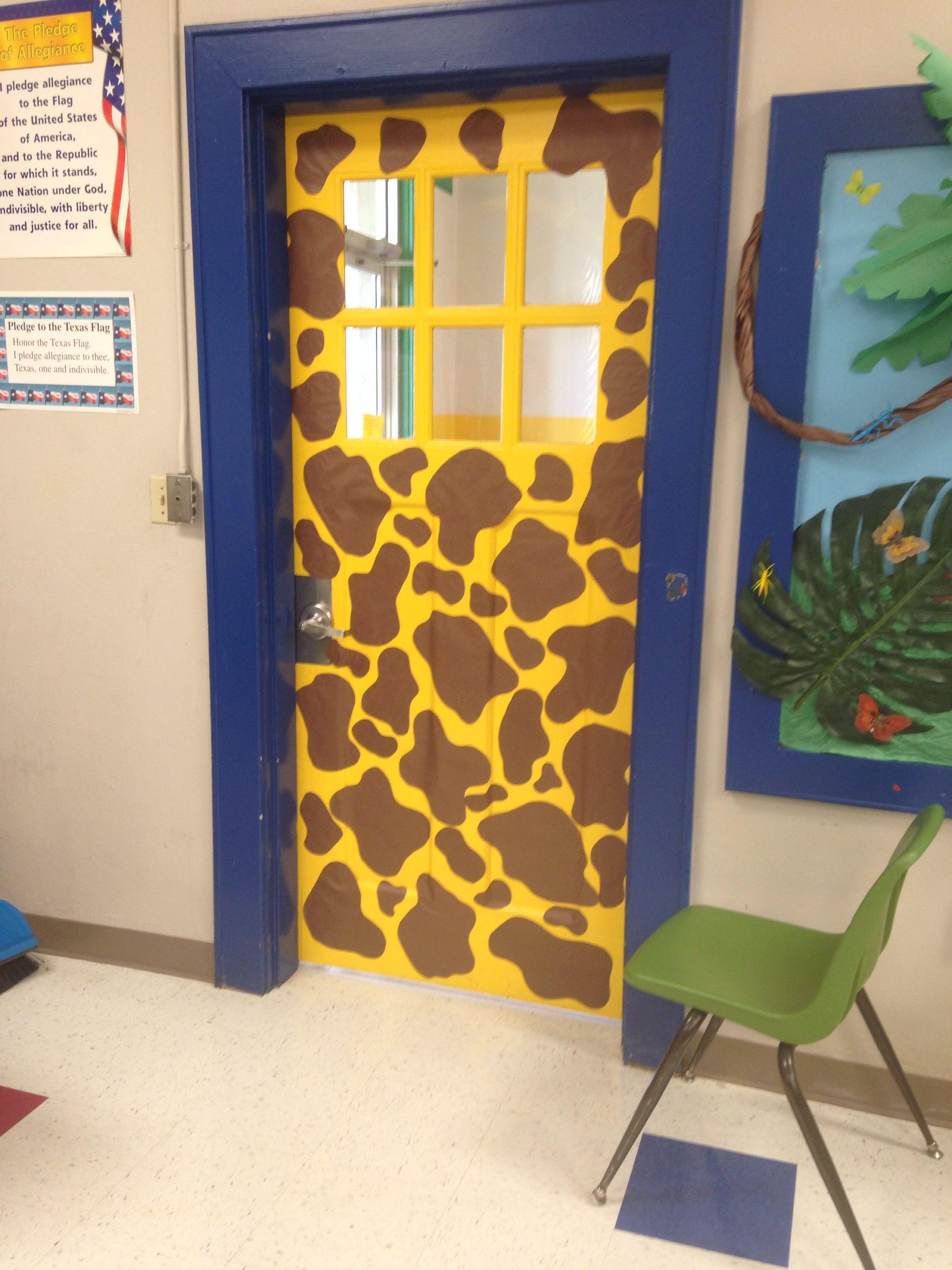 Giraffe Door My Jungle Themed 3rd Grade Classroom