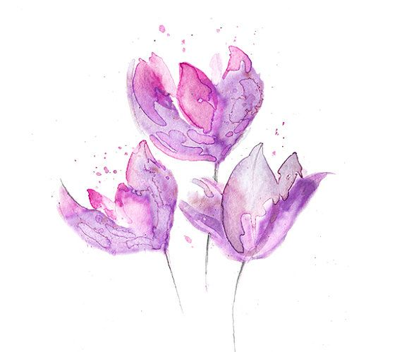 Magnolia Watercolor Painting Print Pink Purple Flower Art Print