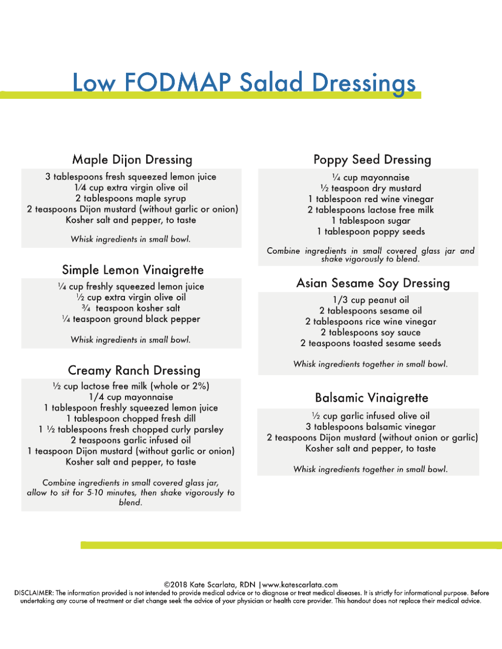 FODMAP friendly Salad Dressings