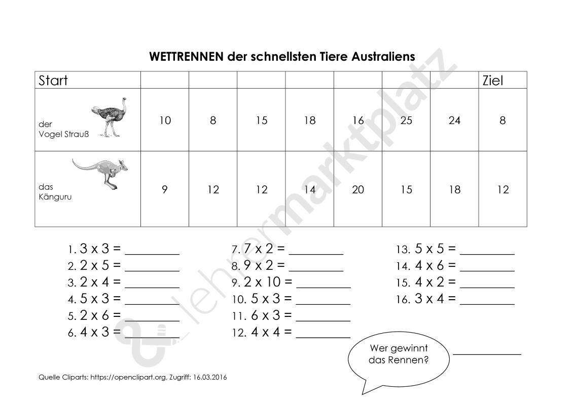 Arbeitsblatt Multiplikation: Wettrennen australischer Tiere ...