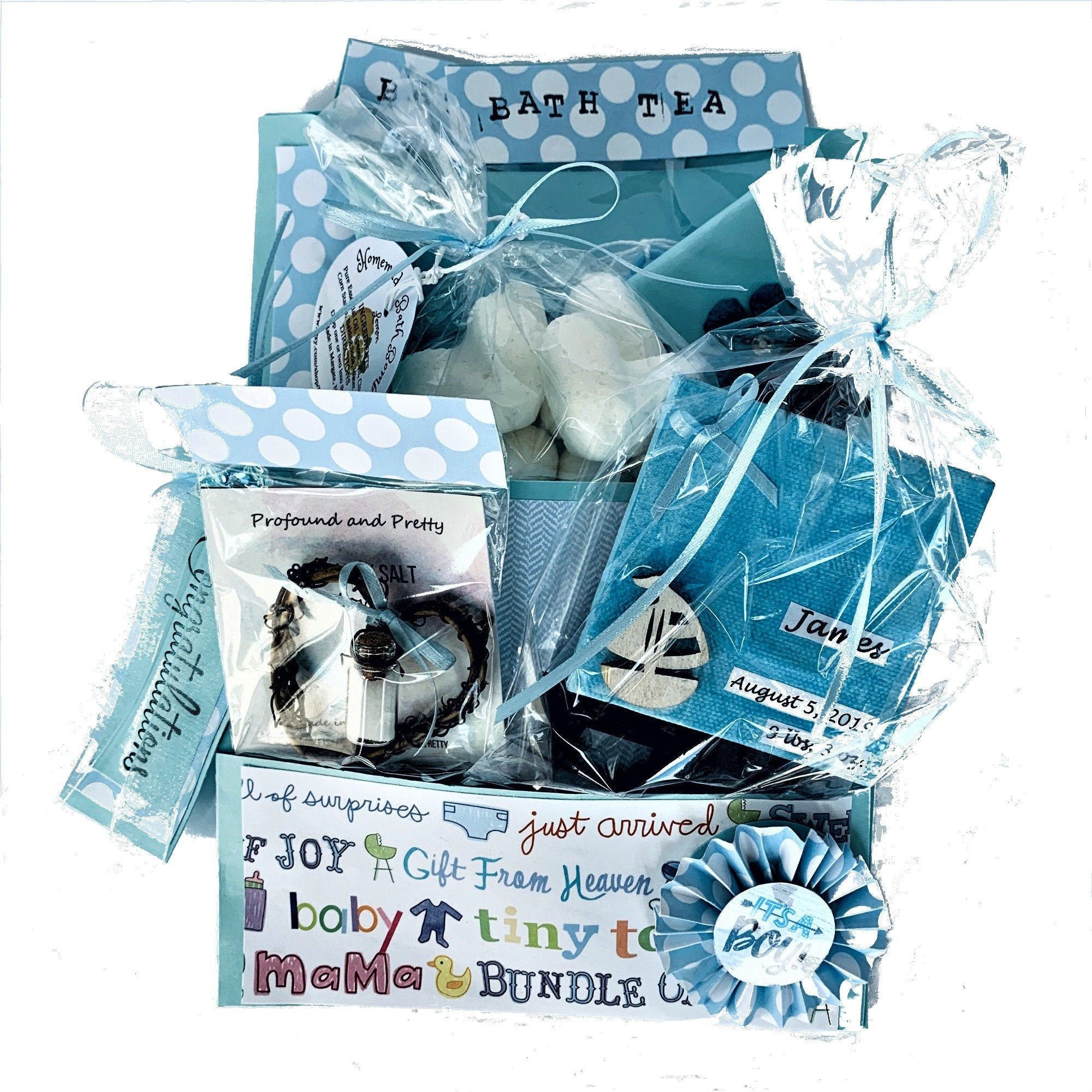 Baby boy gift basket congratulations mom home