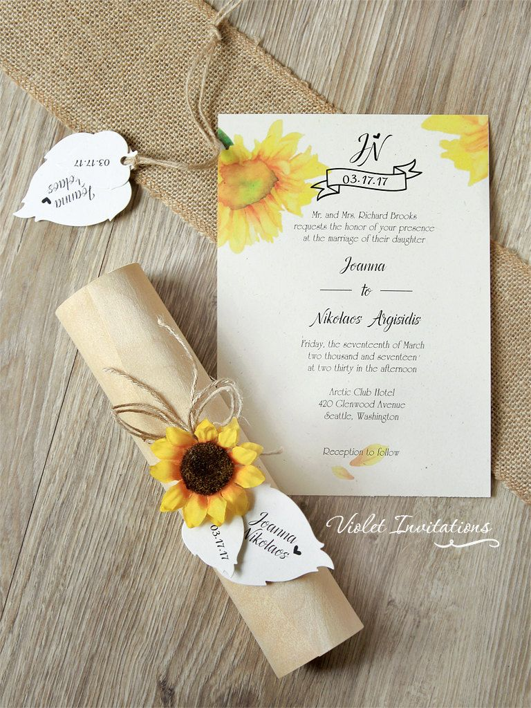 Rustic Sunflower Wedding Invitation Boxed By Violetinvitations