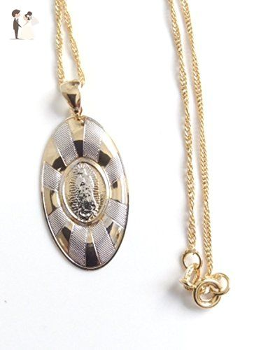 Virgen de guadalupe gold and silver plated medal spiral chain 17 virgen de guadalupe gold and silver plated medal spiral chain 17 necklace our lady mozeypictures Choice Image