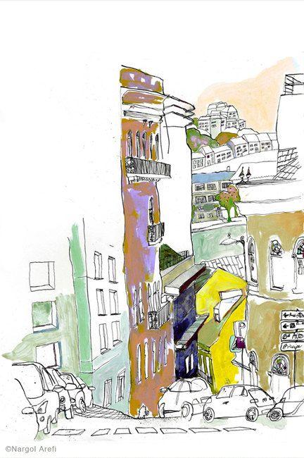 Lisboa On the Hill 8 x 10 giclee por NeelyIllustration en Etsy, $12.00