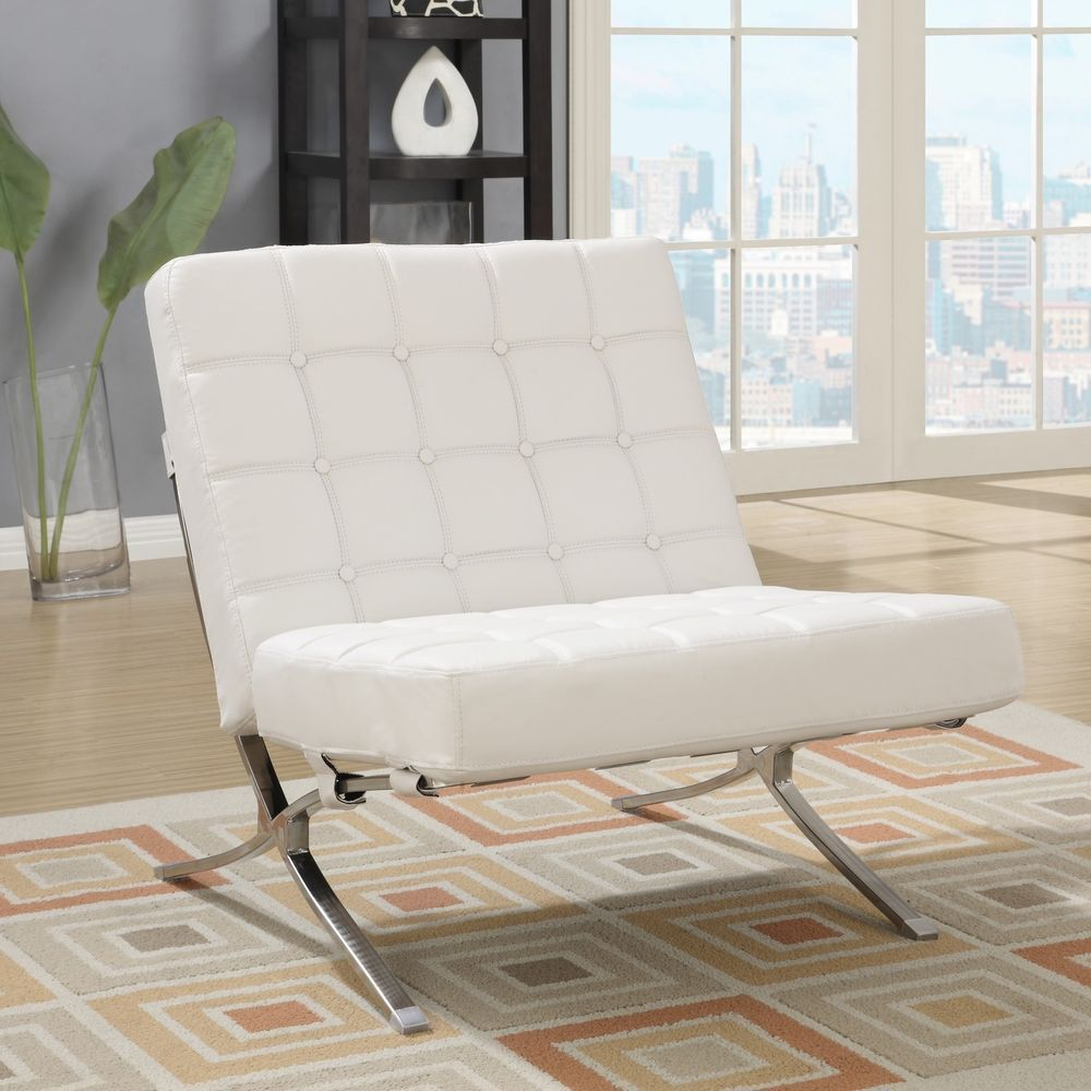 White Leather Wide Chair Accent Guest Living Room Bedroom New ILoveLiving