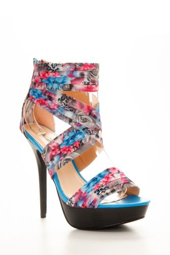 Open Toe Floral Criss Cross Heels