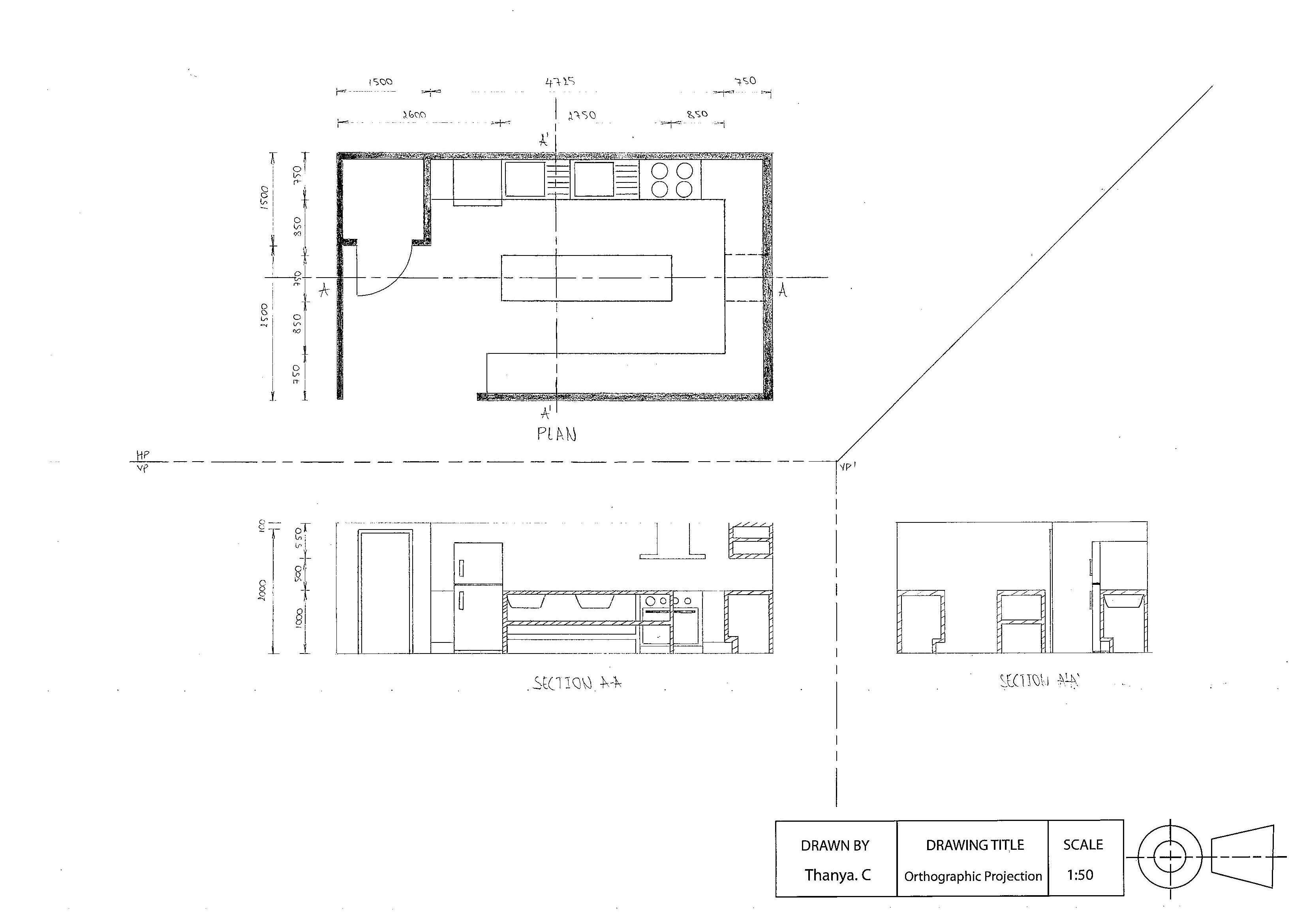 Caf  s Kitchen Orthographic Drawing  with Cross Section
