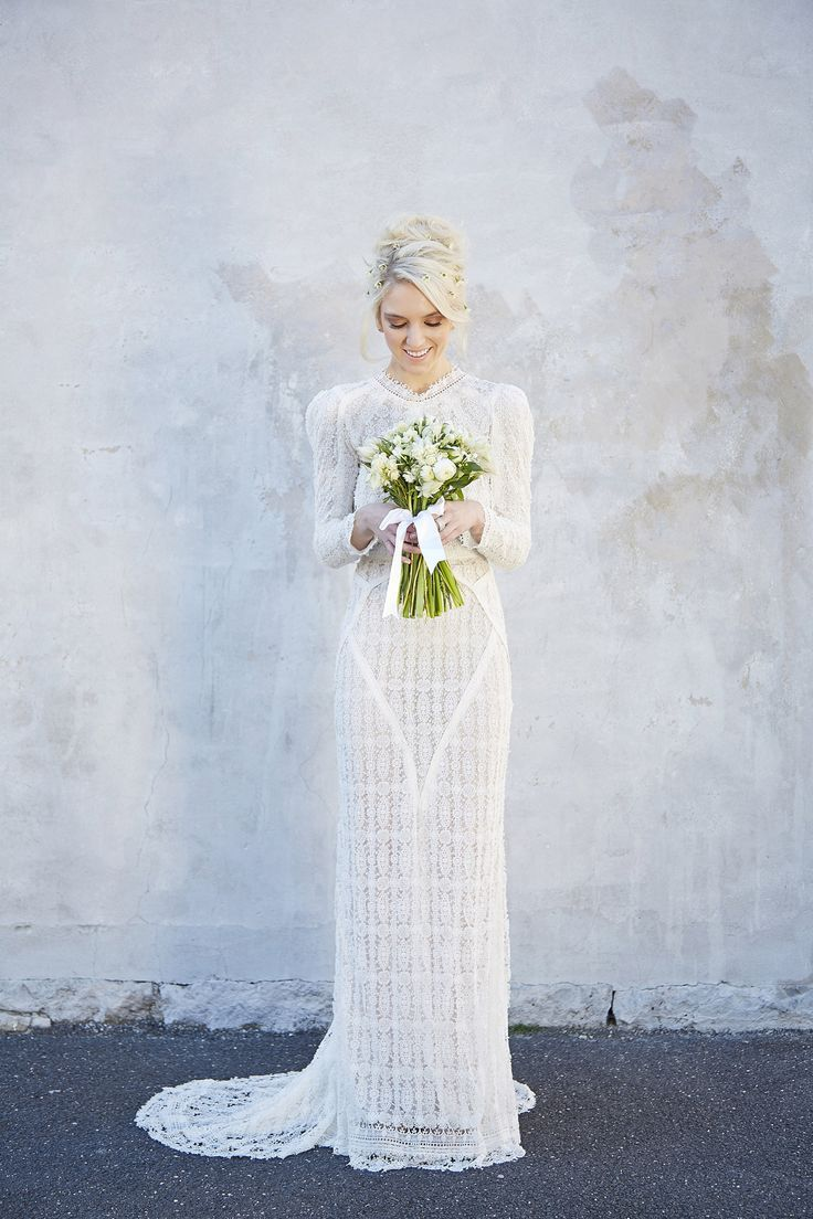 long sleeved lace wedding dress by georgia young couture melbourne bridal designer