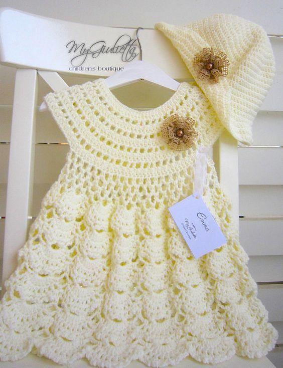 Baby Kleid, Blumen-Mädchen-Outfit, häkeln Häkelkleid für Mädchen ...