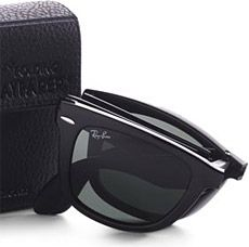 60696b392bd The Ray-Ban Folding Wayfarer Sunglasses ( 150) offer classic plain-black  styling in a foldable