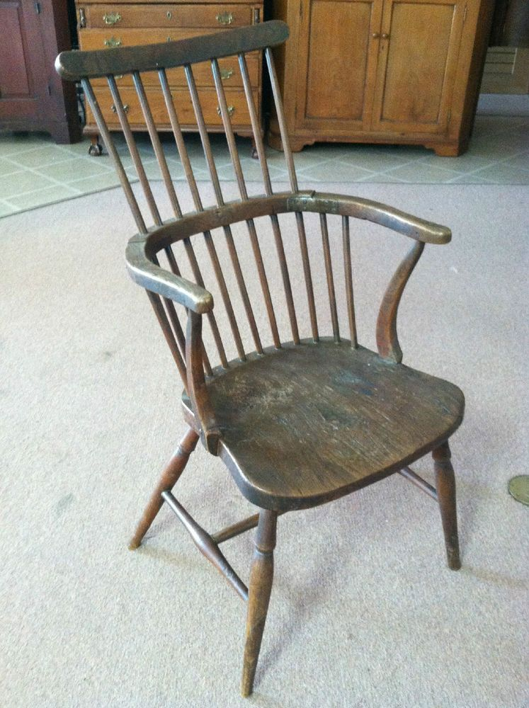 GORGEOUS ANTIQUE ENGLISH COMB BACK WINDSOR CHAIR (ELM) Circa Early 19th C # Windsor