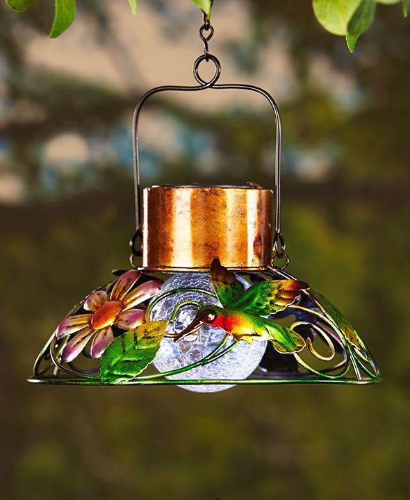 Hummingbird Solar Garden Hanging Lamp Crackled Glass Lawn Porch Deck Home  Decor