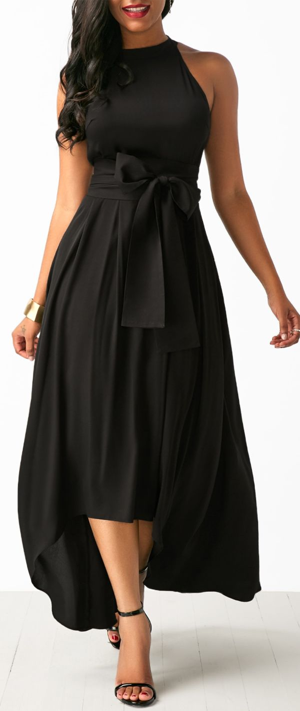 Asymmetric hem black belted dress and cardigan in fashion