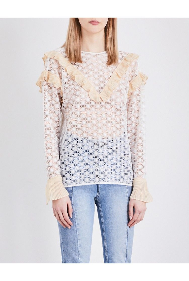 SANDRO - Frilled guipure lace top | Selfridges.com