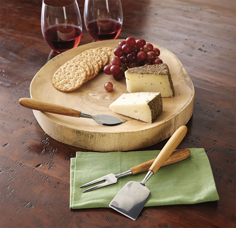 Mango Wood Board and Teak Cheese Knives 15535 Wooden