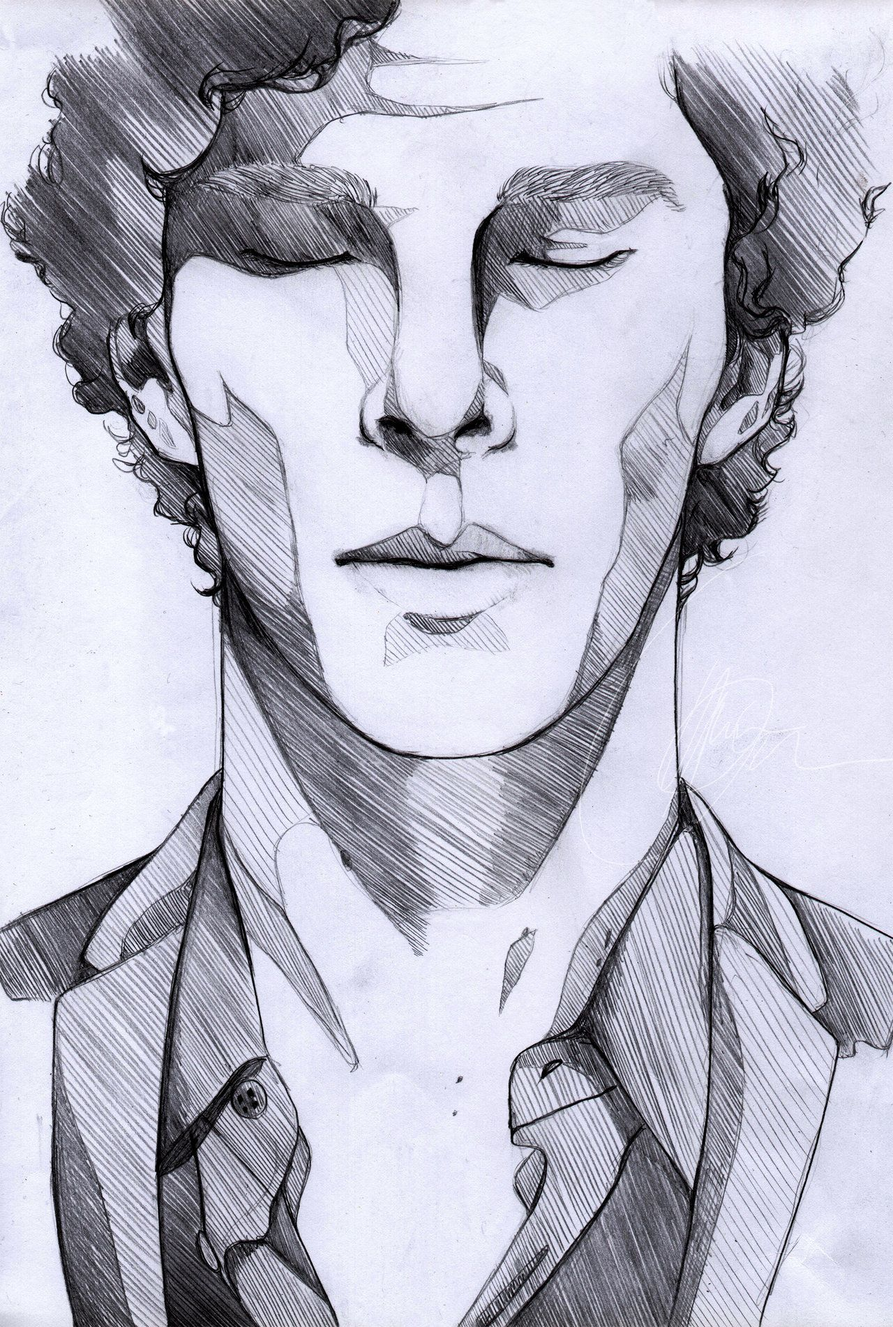 Man S Face Line Drawing : The lonely sherlock by mi caw ber viantart on