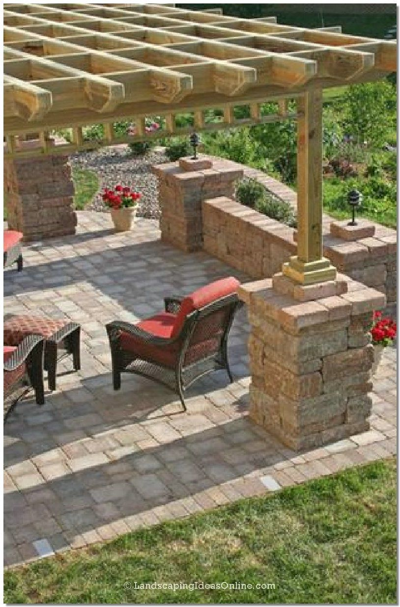 My Hubby Is About To Build A Pergola For Our Back Patio. Love The Stones  Around The Support Beams To Dress It Up!