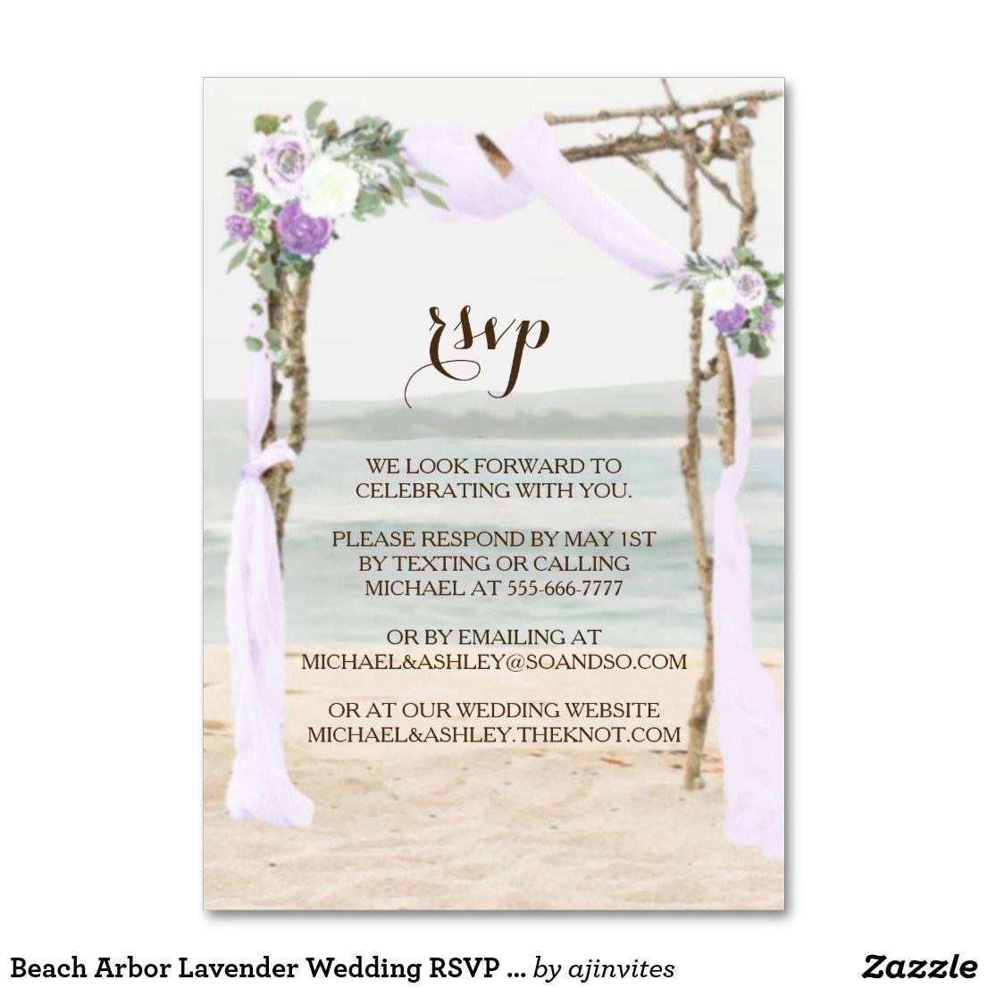 Beach arbor lavender wedding rsvp card no envelope