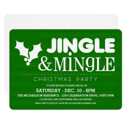 Green Jingle & Mingle Christmas Party Invitations