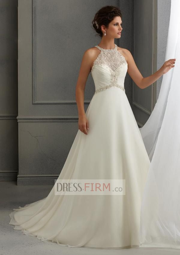 2015 Artistic A Line Empire Chapel Train Scoop Crystals Tulle Wedding Dresses [2015BWD-39468] - $ 219.99 :