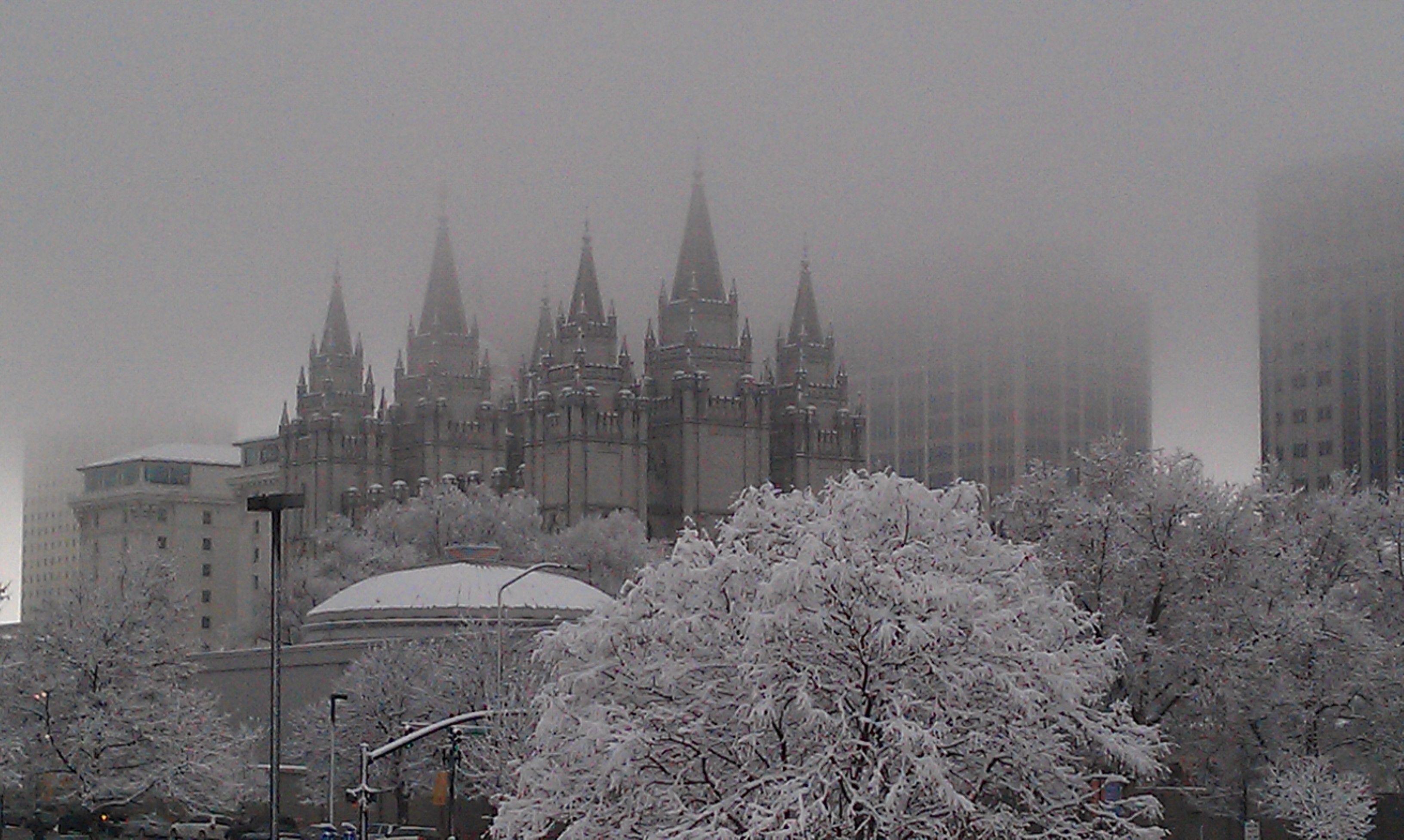 Salt Lake City, Utah Temple on a snowy January morning