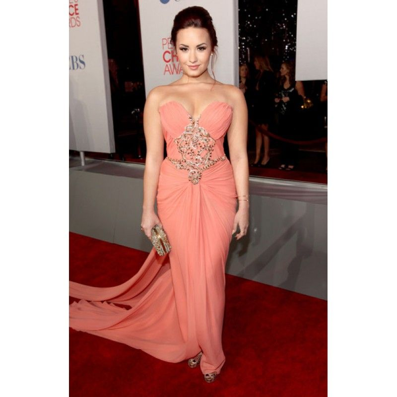 Demi Lovato Pink Strapless Custom Prom Dress 2012 People's Choice Awards Red Carpet