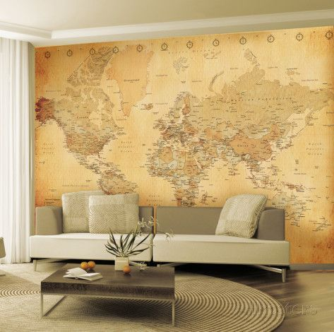 Carte du monde ancienne poster mural g ant wallpaper for Poster decoratif mural