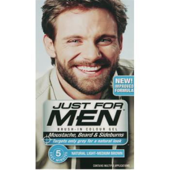 Just For Men Brush In Colour Gel Light Med Brown (M30) Facial Hair ...