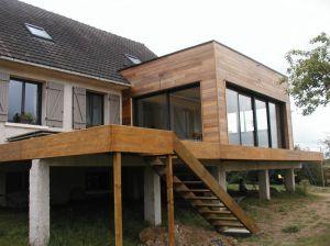 Extension ossature bois bso brise soleil orientable motoris s bardage red cedar terrasse bois - Extension sur terrasse ...