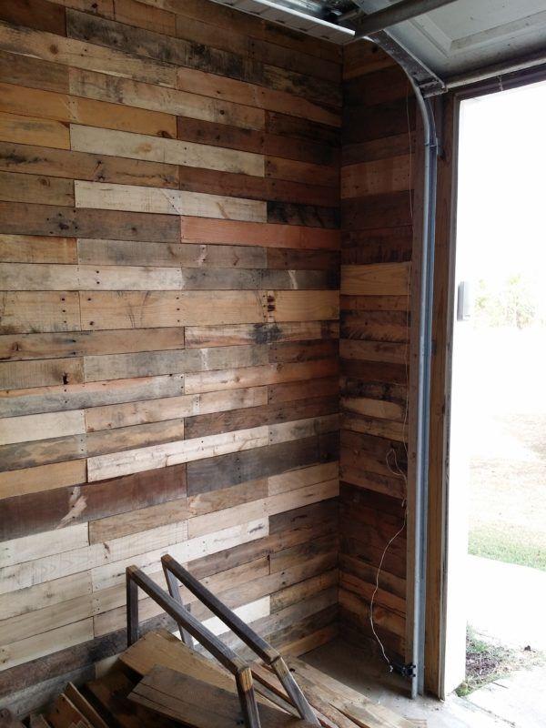garage transformed into super pallet garage pallet wall on pallet wall id=28206