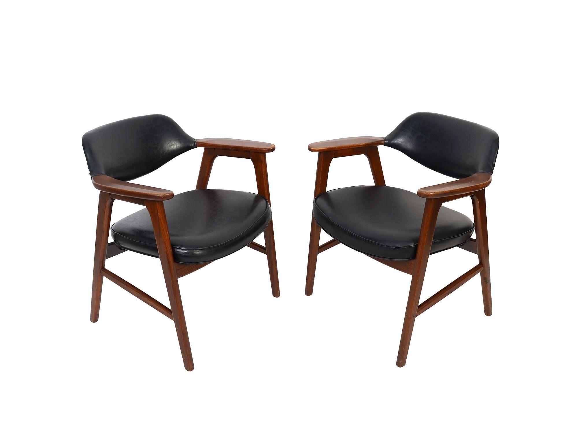 Walnut Armchairs Pair Of Arm Chairs Mid Century Modern Gunlocke