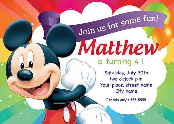 Mickey Mouse Birthday Invitation Card Printable Template by buljag – Mickey Mouse Birthday Cards