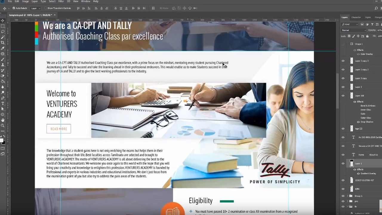 How To Design Website Template In Adobe Photoshop Cc 2018 Website Design Website Template Design Digital Marketing Manager