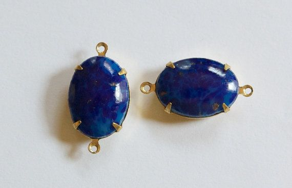 Vintage Blue Lapis Stone in 2 Loop Brass Setting by yummytreasures, $3.99