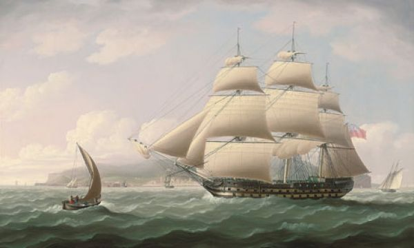 british east india company ship laden with cotton, silk