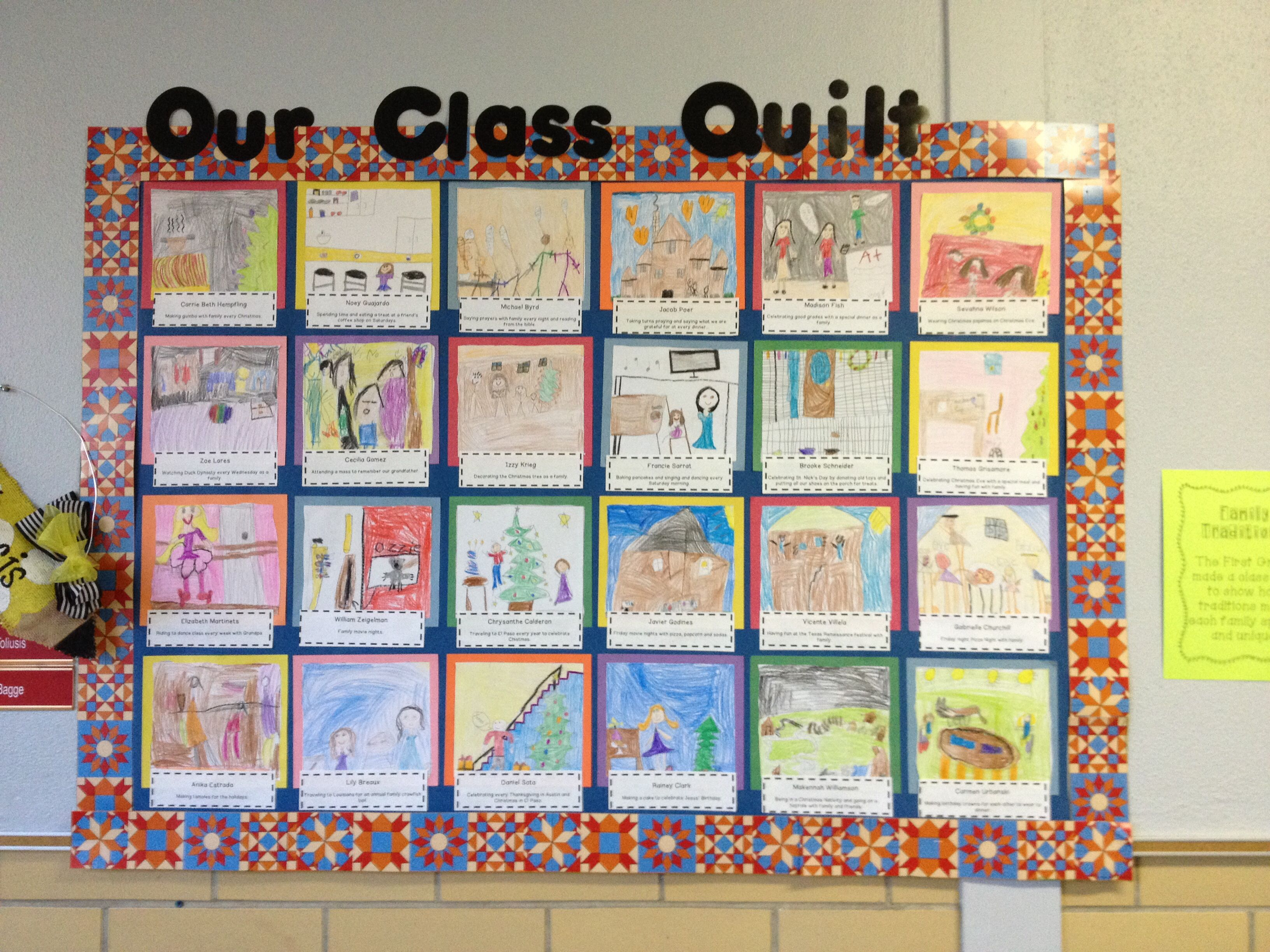 Classroom Quilt Themes : Family traditions class quilt st grade organization