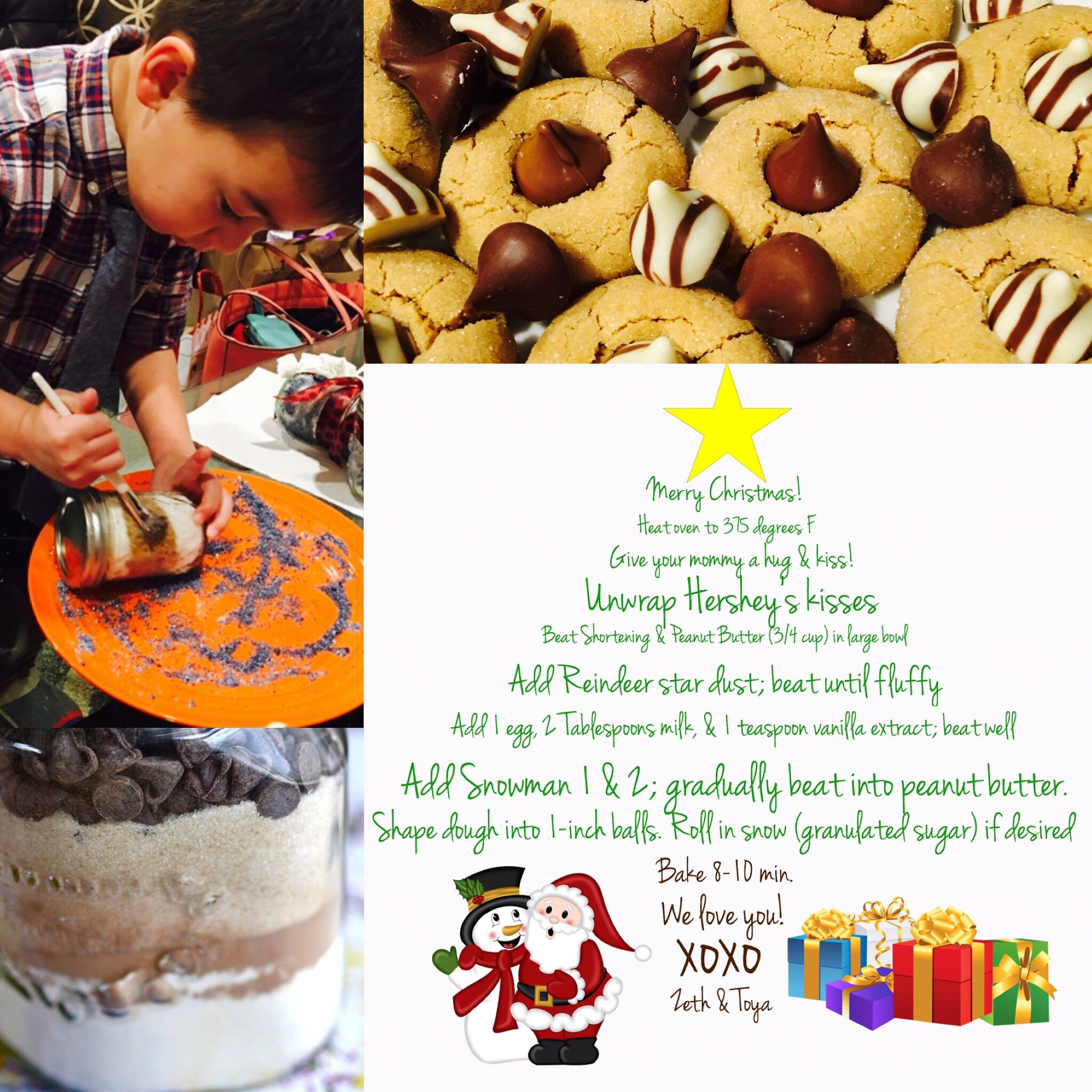 Put the instructions for our cookies in a mason jar gift in the shape of a Christmas tree.  And part of the gift was to design the mason jars together.  The best gift is the gift of time...the time to create/make memories with one another.   #Christmas #bake #cookies #gift #diy #memories #santa #crafts #baking #masonjar #design #graphicdesign #creative #create #typography #presents #christmastree