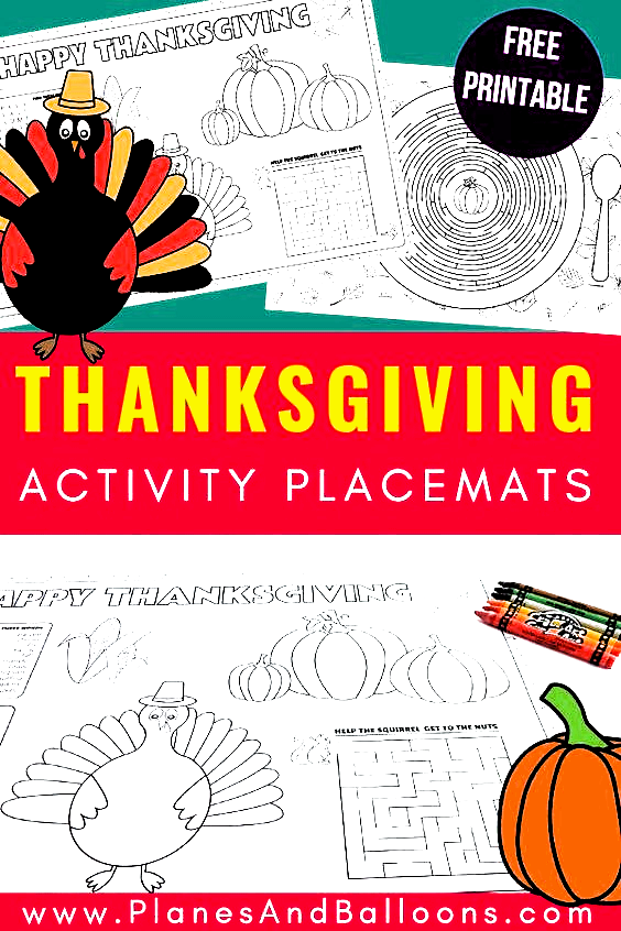 Free printable Thanksgiving placemats for kids table. Make the Thanksgiving kids dinner table more special with these kids Thanksgiving activities. #Thanksgiving #kidstable #placemats #givethanks #thanksgivingprintables