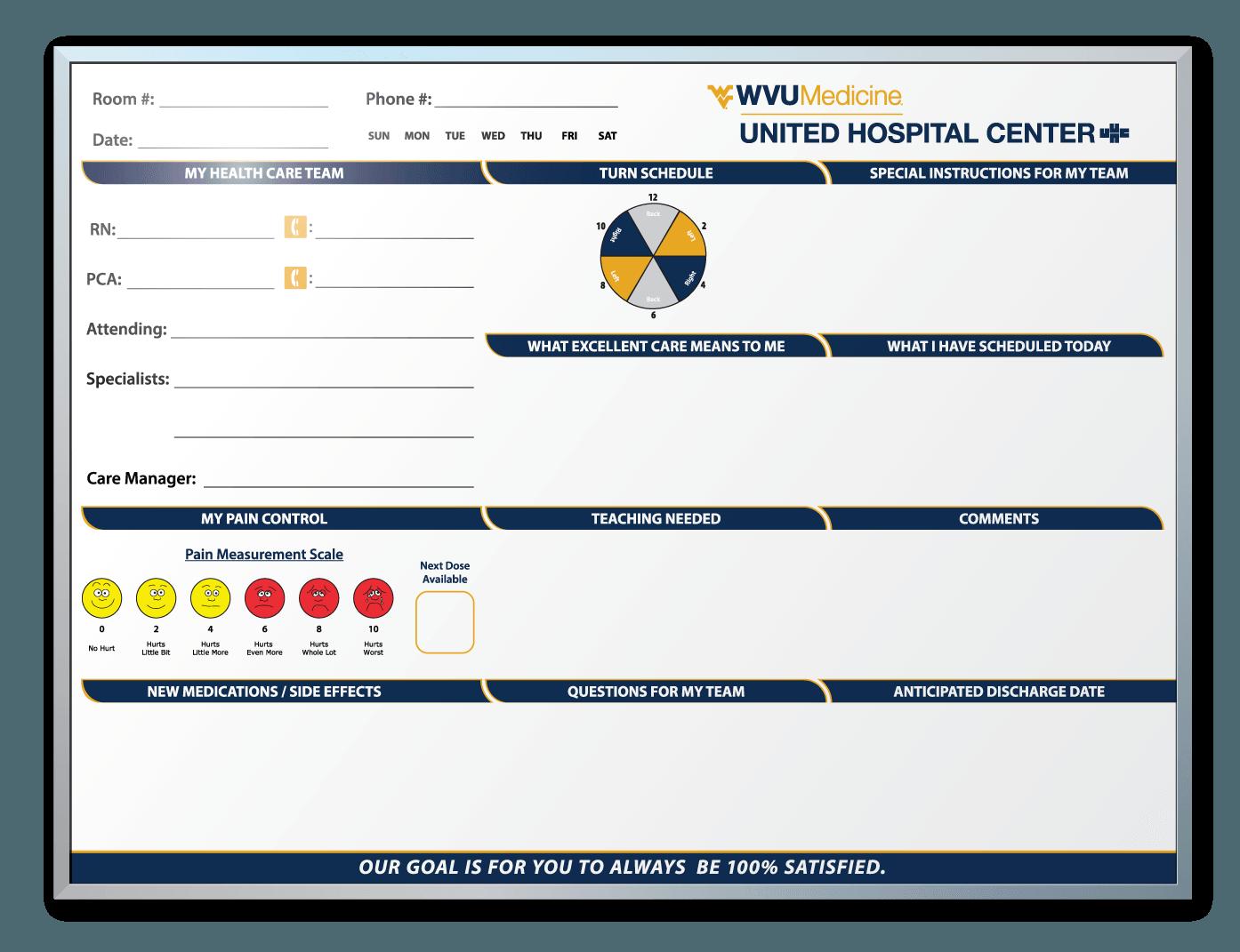 WVU United Hospital Patient Room Dry Erase Boards Custom