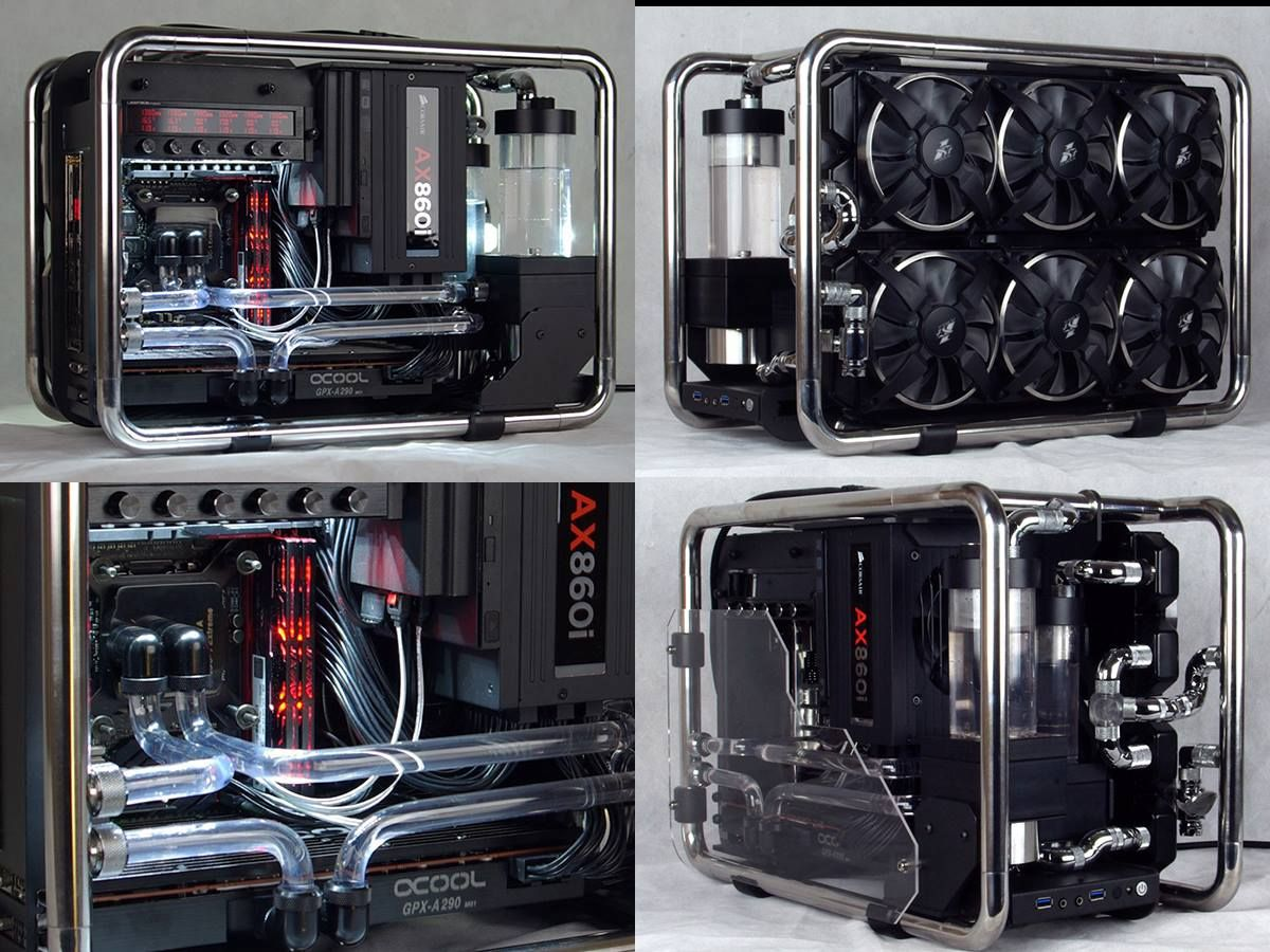 Xusi S Water Mod Pc Build Not Only Looks Great But Made Use Of The Steel Frame To Be Part Of The Water Cooling System Now That S One Way To Cou Komputer Casing