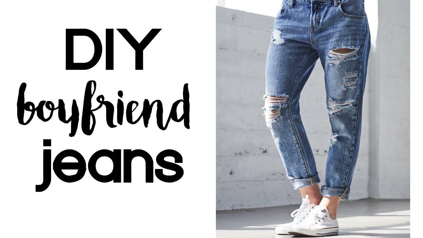 Diy Boyfriend Jeans Thrift Flip Under 10 Youtube Diy