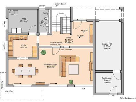 Kern-Haus Bauhaus Cube Grundriss Erdgeschoss | haus bauen grundriss ...