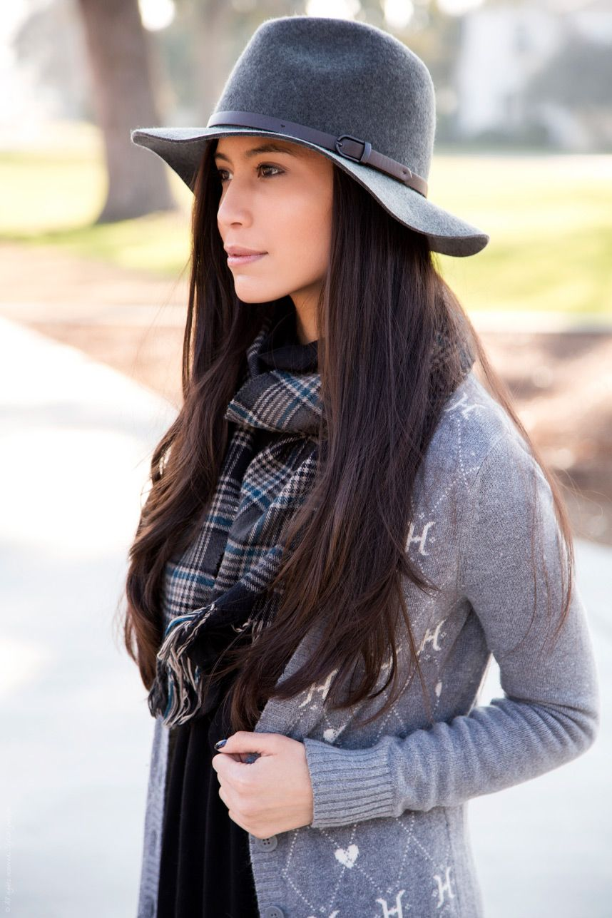 Gray hat with gray cardigan and plaid scarf