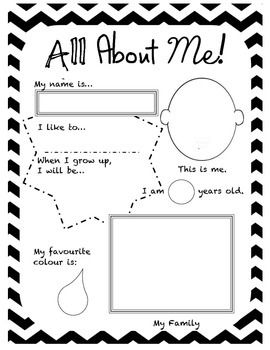 "This shop is amazing!!! Check it out fellow teachers!   A simple ""All About Me"" poster.  Includes: - a box for them to show how they write their name. - a blank face for them to draw themselves. - a box for them to insert their age. - a place for them to list/draw something they like. - a place for them to list/draw what they want to be when they grow up. - a place for them to colour in their favourite picture.  - a place for them to draw their family's portrait."