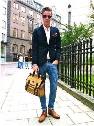 Men\u0027s Blue Jeans, Tan Leather Boots, Blue Socks, Navy Blazer