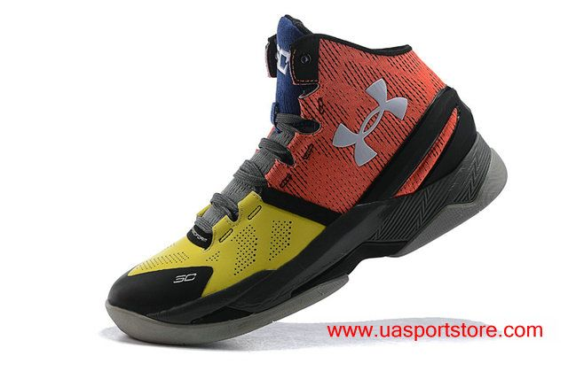 new product a35c1 64891 Women s Under Armour Curry 2 UA Yellow Orange-red Black Grey Basketball  Shoes