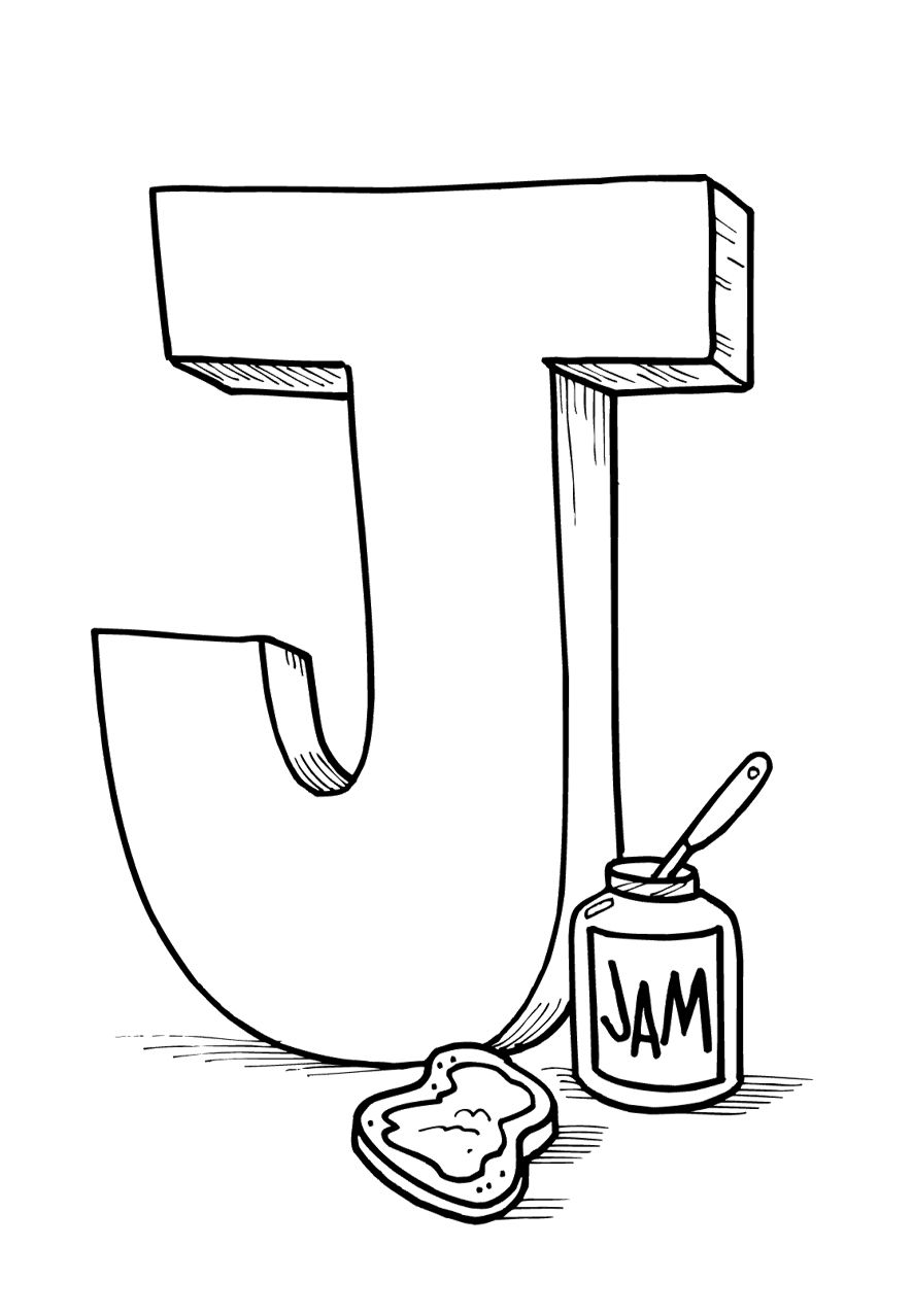 Big letter j coloring pages